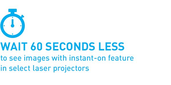 Wait 60 seconds less to see images with instant-on feature in select laser projectors