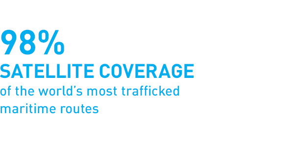 98% satellite coverage of the world's most trafficked maritime routes