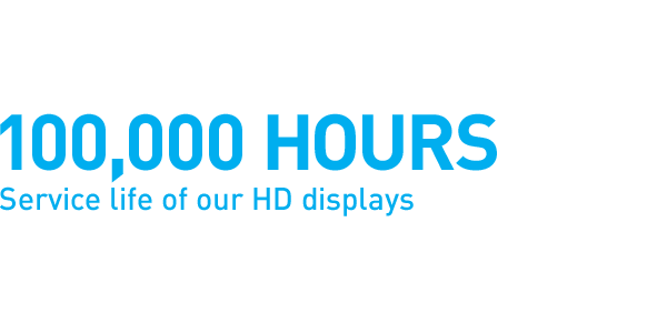 100,000 hours Service life of our HD displays