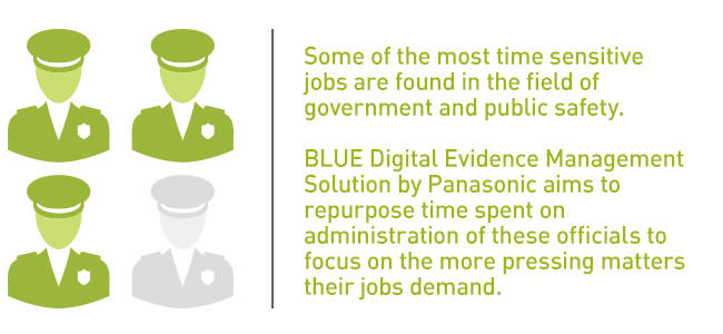 Some of the most time sensitive jobs are found in the field of government and public safety. BLUE Digital Evidence Management solution by Panasonic aims to repurpose time spent on administration of these officials to focus on the more pressing matters their jobs demand.