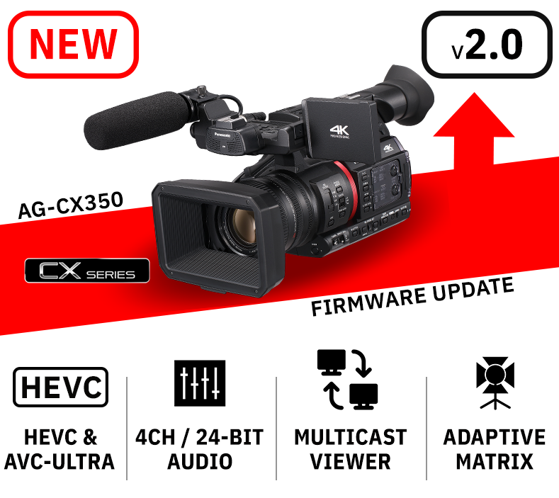 AG-CX350 Camcorder Fimware Update HEVC 24-bit audio camcorder multicast viewer rtmps live streaming led light mode AVC ultra video codec
