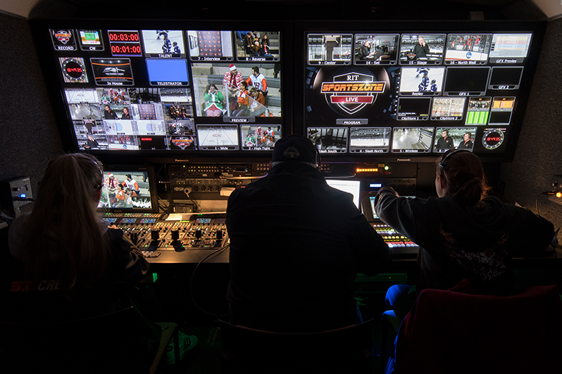 RIT sports zone live control room camera shading switcher live sports broadcast production trailer video control room ptz cameras multiviewer tv live production video studio behind the scenes