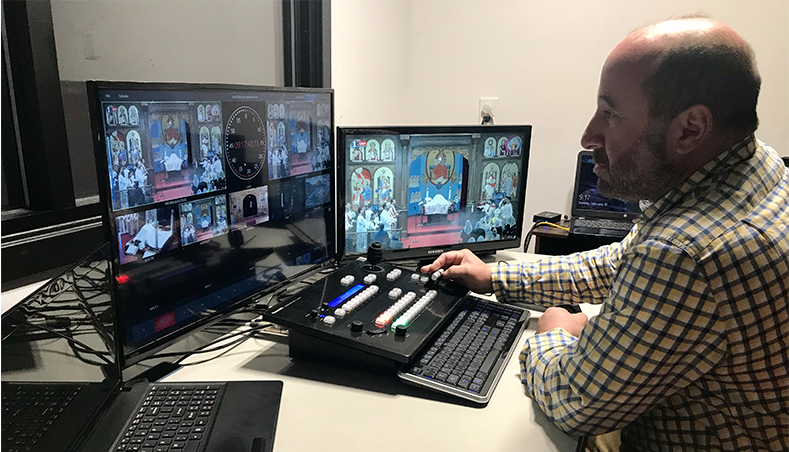 NDI switcher enables PTZ camera control, live streaming, audio mixing, titles and more for churches