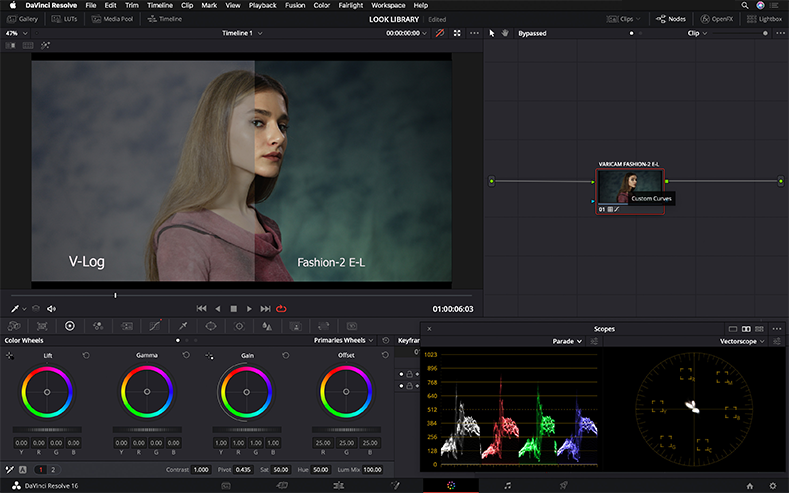 Davinici Resolve V-LOG LUT Custom curvers color grading example for VariCam LUT library