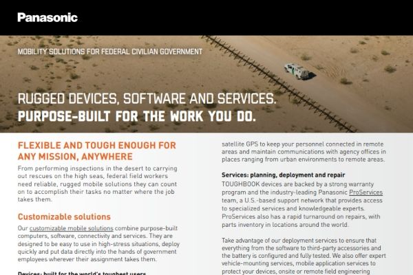Federal Government Agencies Mobile Solutions Panasonic Toughbook