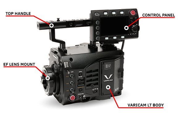 VariCam LT body package with top handle, control panel, EF lens mount