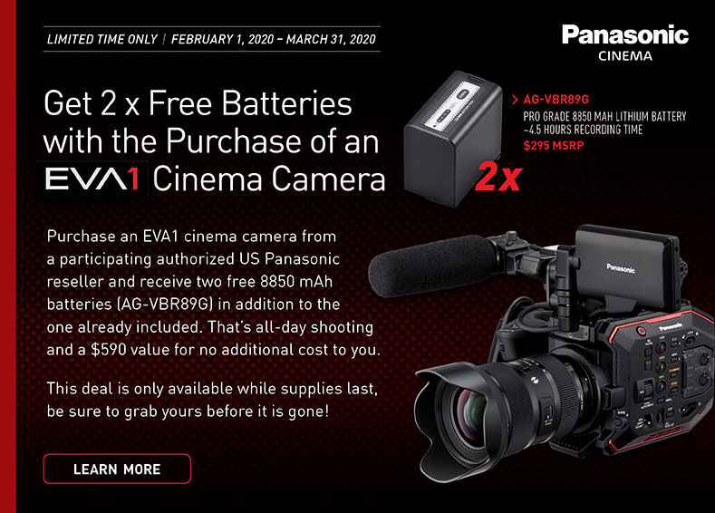 eva1 cinema camera free battery promotion offer