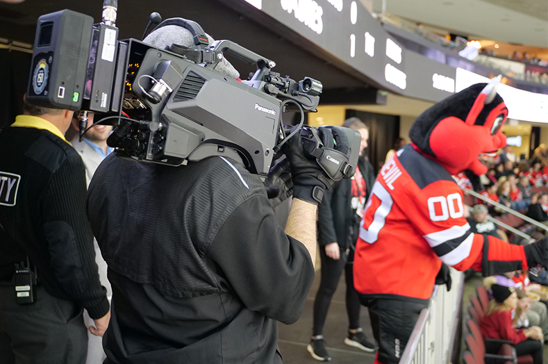 new jersey devils NHL hockey team mascot captured with Panasonic AK-HC5000 broadcast camera system