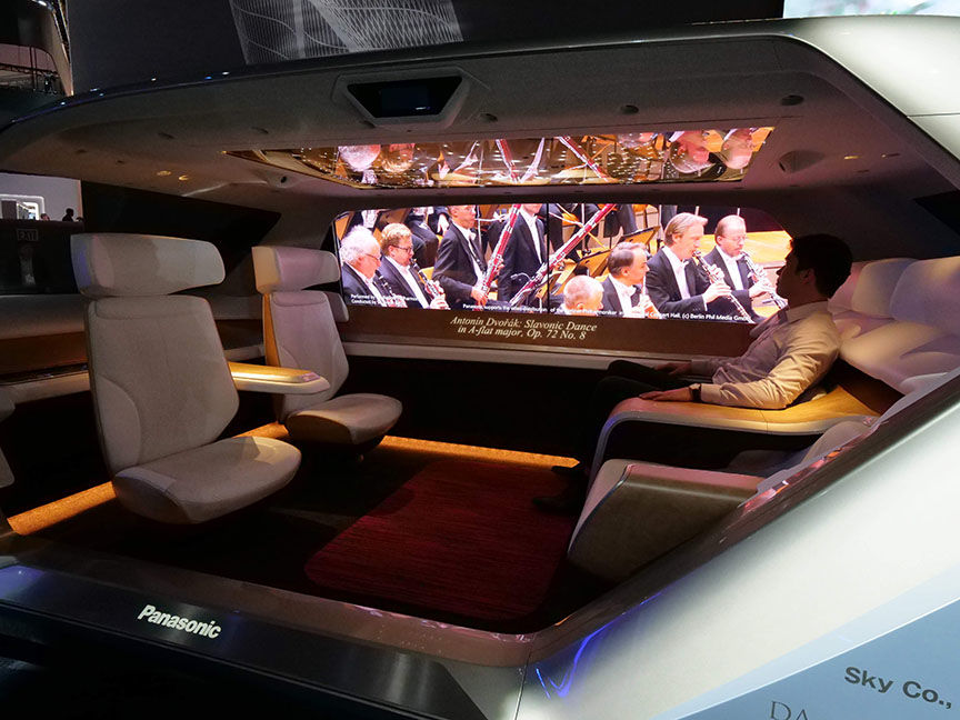 car interior cabin with campfire seating