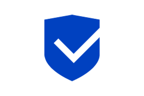 Blue check shield icon