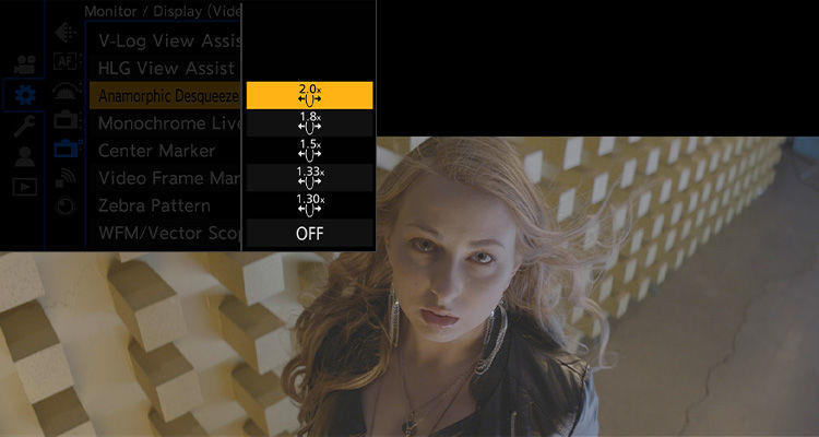 Lumix S1H cinema camera with Anamorphic lens support showing the anamorphic desqueeze menu options