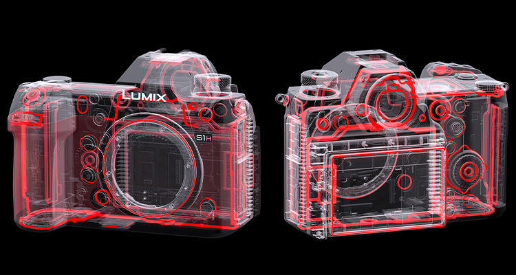 Lumix s1h cinema camera with rugged body design for b-camera actions shots and versatile camera mounting