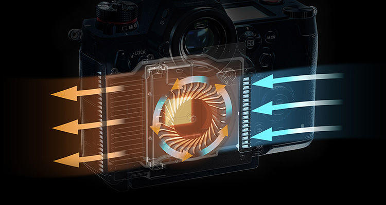 Lumix S1H mirrorless cinema camera with unlimited recording times due to advanced fan cooling technology