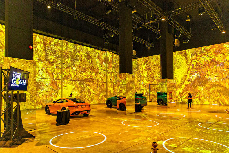 cars sit within the immersive van gogh exhibit