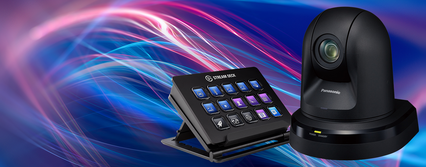 Panasonic PTZ camera with Elgato stream deck for camera shortcuts and streaming commands