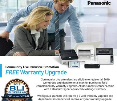CommunityLIVE 2019 Panasonic Scanner Warranty Promotion