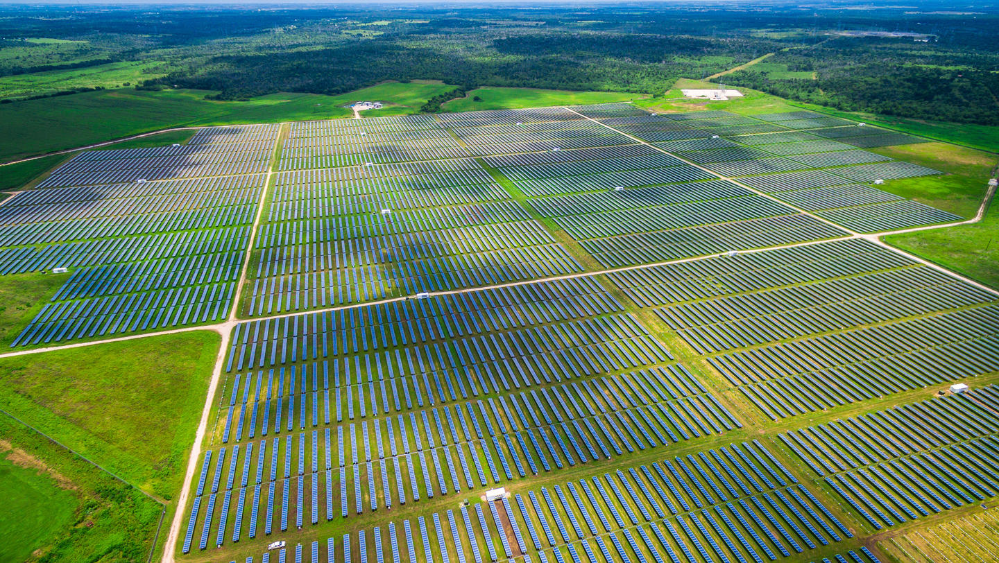 Aerial Central Texas Solar Energy Farm Thousands of Collectors