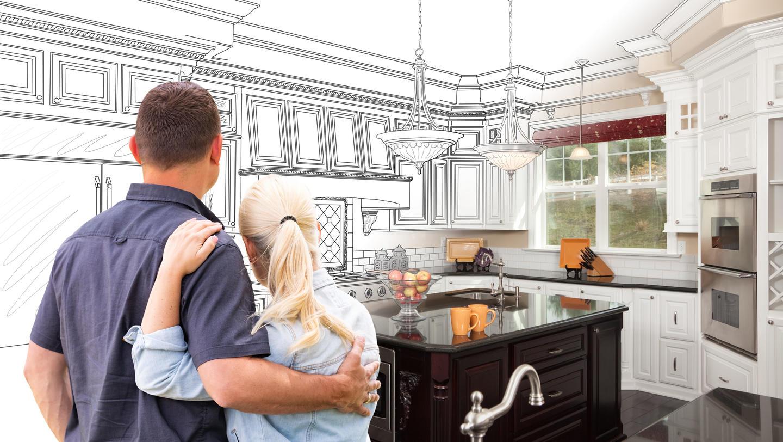 Couple Facing Custom Kitchen Drawing Gradating To Photo