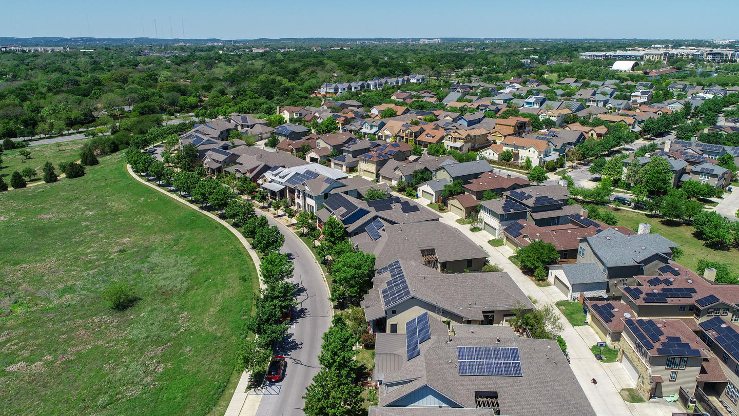 Hundreds of Solar Panels Mueller Suburb Solar Panel Rooftops and Modern Austin Living