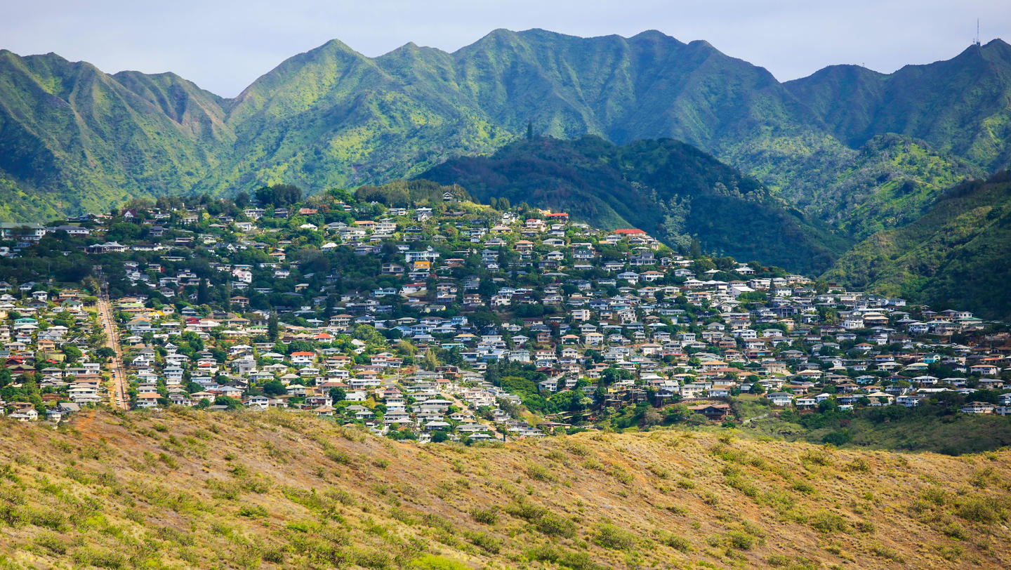 Kaimuki town area, south-east Oahu, Hawaii