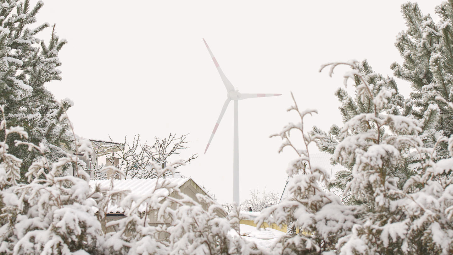 Wind turbine in winter