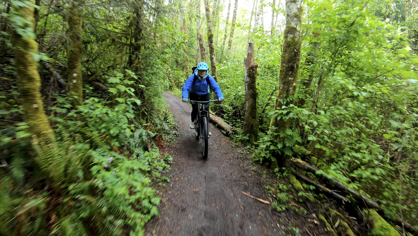 Woman mountain bikes down a narrow path through the forest in the rain