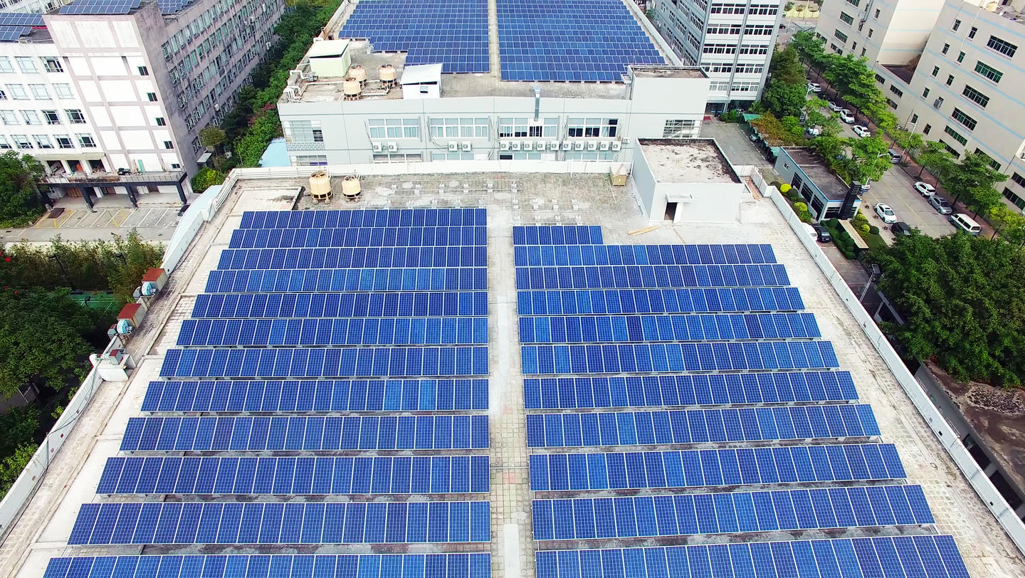 solar panels on roof of building