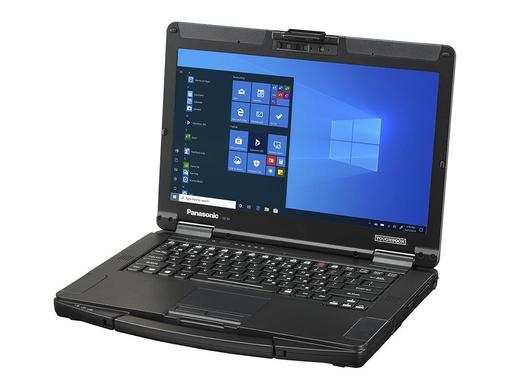 TOUGHBOOK 55 front right view Windows 10 on screen