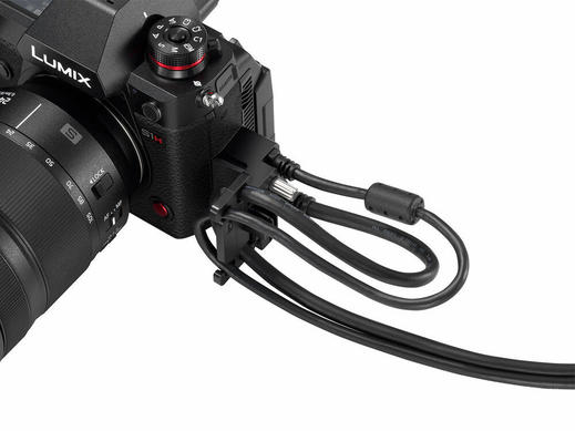 Panasonic S1H Full Frame Cinema Camera Side View with Cables Connected