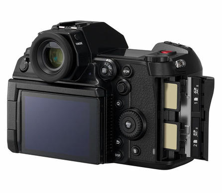 Panasonic S1H Full Frame Cinema Camera Slanted View with Screen Viewfinder Back Controls and Dual SD Card Slots Shown