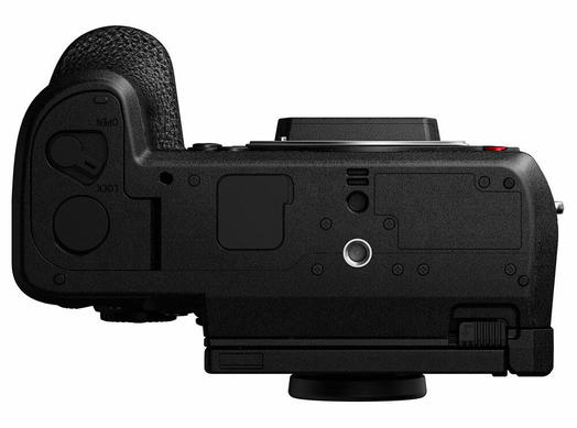 Panasonic S1H Full Frame Cinema Camera bottom view showing tripod screw mount grip and battery compartment opening