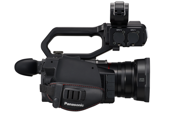 AG-CX10 4K camcorder with comfortable hand grip and easy access to camera controls