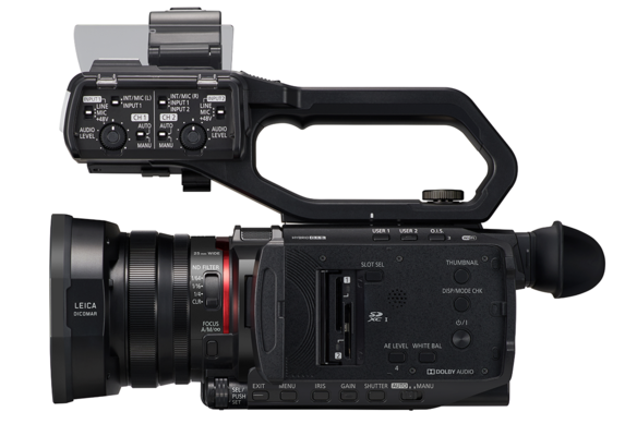 AG-CX10 4K camcorder with XLR audio inputs and LCD screen open