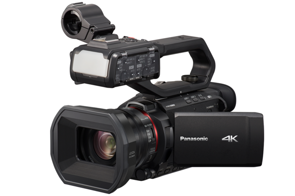 Angle view of best 4K camcorder with LED light and 4_2_2 10-bit internal recording