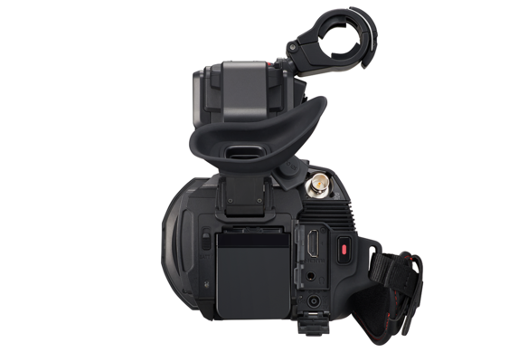 Back view of AG-CX10 4K camcorder with flush battery mount