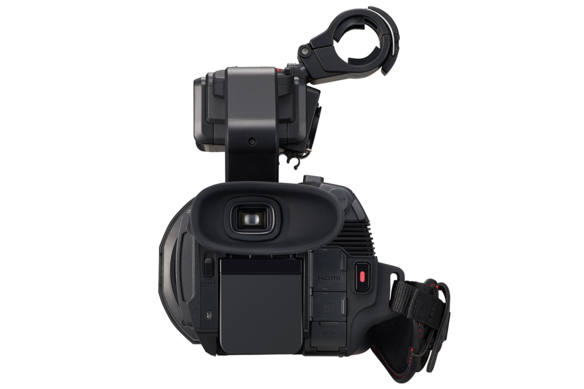 Rear of AG-CX10 4K camcorder with 5+ hour battery flush mount and HDMI and 3G SDI connections for video output visible