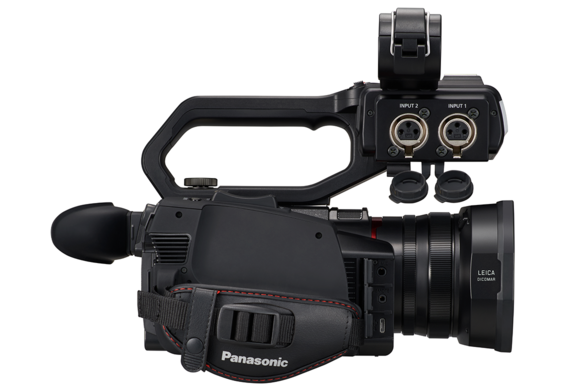 Side view of 4K camcorder with 24 bit XLR audio inputs with 48v phantom power