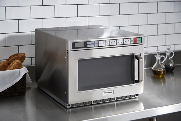 microwave on countertop side view