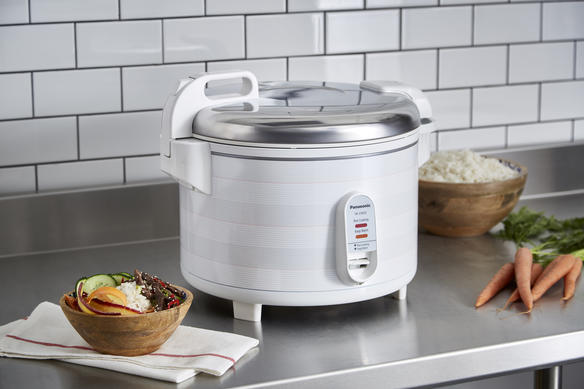 rice cooker on countertop side view with food