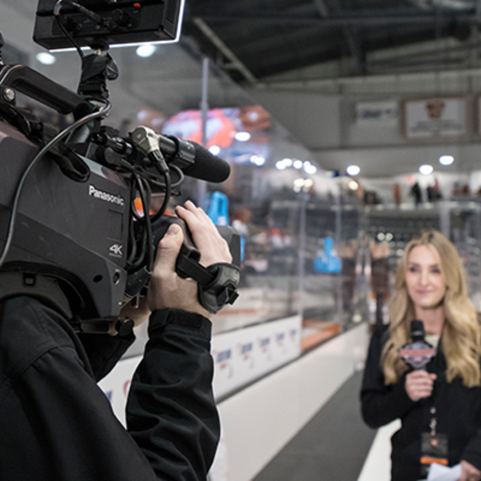 broadcast camera system sports video production broadcast lighting hockey arena reporter pre-game post game show