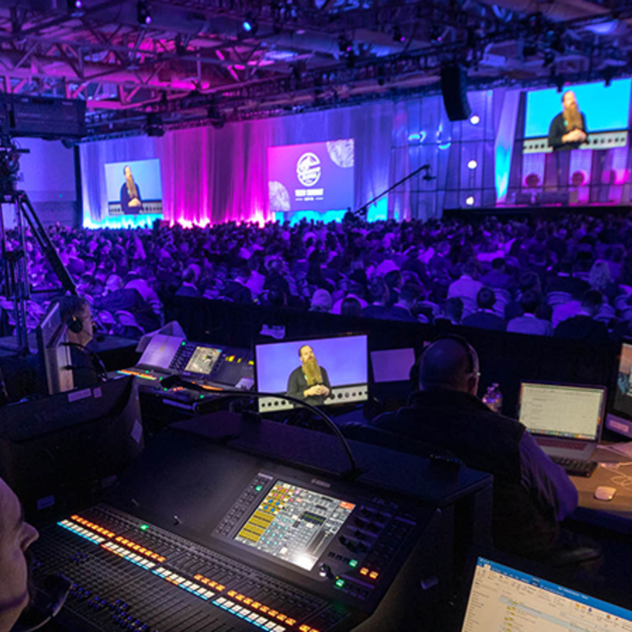 AK-UC3000 studio field camera system being used for multicamera live coverage of a corproate event by full service video production company, cornerstone technologies