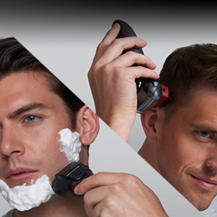 an angle-sliced image of a man using the ES-LL41-K shaver, one with shaving cream and one without