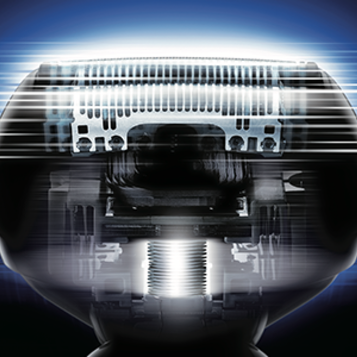 stylized image of the ES-LV65-S shaver head depicting close-up blade design.