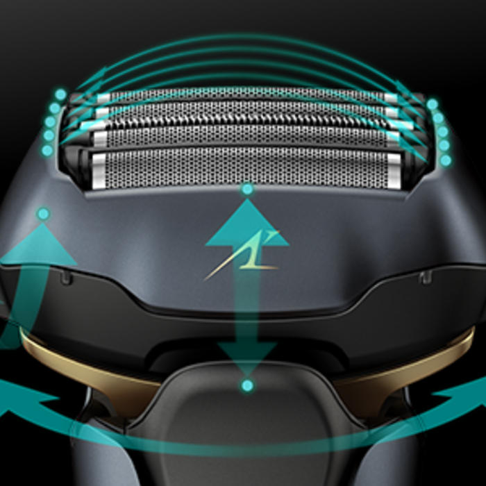 Graphic depiction of the shaver's pivoting head design with green arrows demonstrating movement.