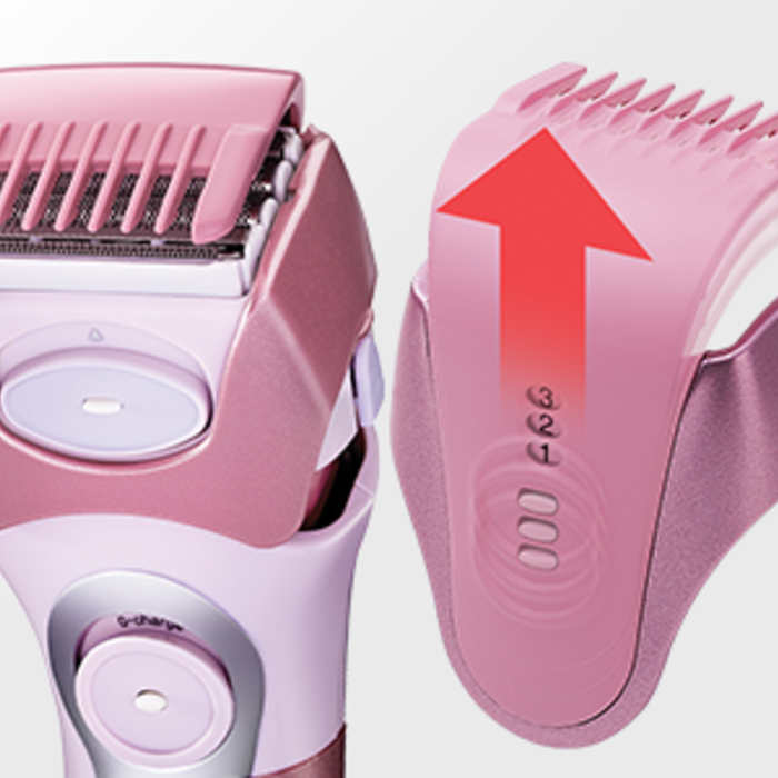 back-to-front side by side images of the ES2216PC shaver showing the removable head. A red arrow depicts the direction to remove the guard.