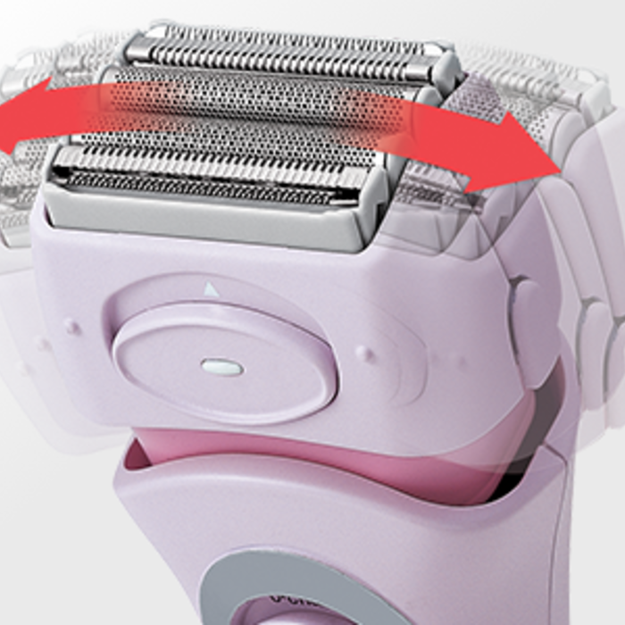 Close up of the ES2216PC shaver head with red arrows on each side depicting the direction of the contouring curves.