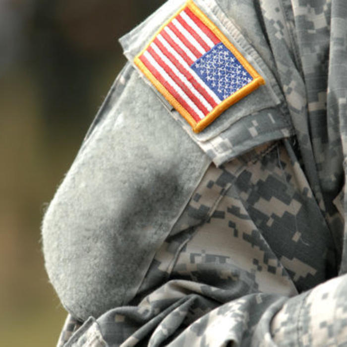 View of American Flag on soldiers arm