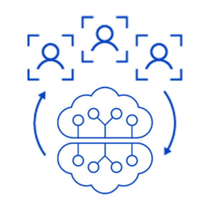 Blue icon with deep learning cloud