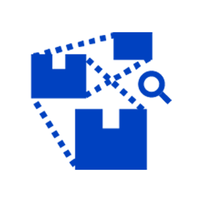Blue traceability icon