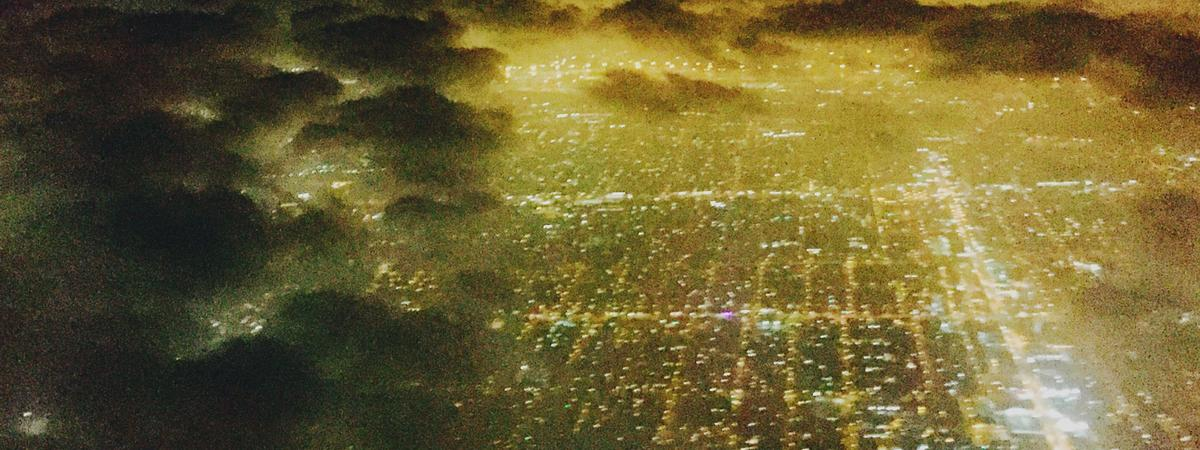 Los Angeles, Night, City Grid, Aerial View